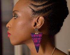Boucles d'oreilles Thaki Pinky wax (pagne africain)