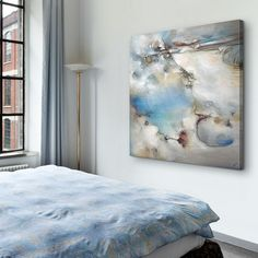 Serene Abstract Art in an Airy Bedroom | Great Big Canvas