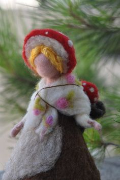 Needle Felted Waldorf Children of the forest- Forest Mother with a babysoft sculpture