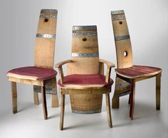 wine barrel dining chairs. A bit ugly but a very cool idea