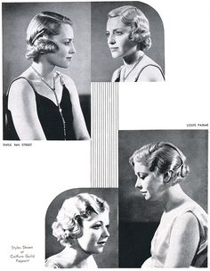 American Hairdresser Magazine May 1931 vintage hairstyle accessories. from the American Hairdr Short Spiky Hairstyles, Curled Hairstyles, Wedding Hairstyles, Updo Hairstyle, 1960s Hairstyles, School Hairstyles, Hairdos, Medium Long Hair, Medium Hair Styles