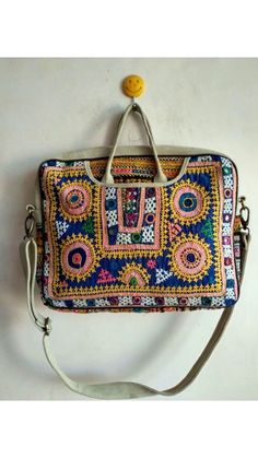 Unique laptop bag / embroidered embellished bag / vintage leather genuine laptop bag / white fancy l Vintage Coat, Vintage Leather, Boho Designs, Vintage Designs, Vintage Patches, Embroidered Bag, Etsy Vintage, Hand Embroidery, Fancy
