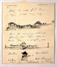 "Great example of the ""monumental"" embedded within the personal — here Lutyens is showing how his designs came about for New Delhi — very human and moving document — part of the trove of delights to be found in the Lutyens' correspondence between him and his wife, Lady Emily. KH. (Sir Edwin Lutyens, Viceroy's House, New Delhi: sketches in a letter by Sir Edwin Lutyens to his wife, Lady Emily, 1913) [RIBA3119-39]"