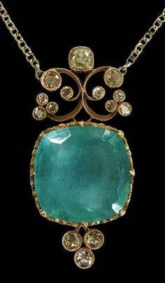 Dalben Aquamarine Diamond White Gold Pendant Necklace