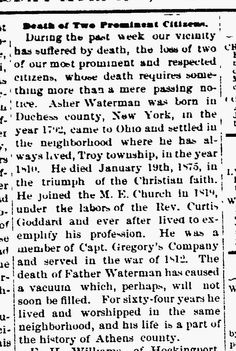 Sunday's Obituary–Asher Waterman