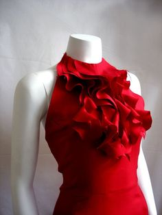 c9362ddd9a91 Items similar to Raw Edge Ruffle Halter Dress in Red - Custom only on Etsy