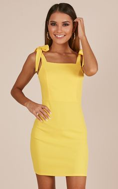 Complete your look with the Lemon Blossom Dress In Mustard from Showpo! Hoco Dresses, Event Dresses, Homecoming Dresses, Cute Dresses, Casual Dresses, Fashion Dresses, Summer Dresses, Yellow Dress Casual, Skirt Outfits