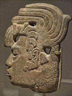 Royal Profile Late Classic Maya Mexico or Guatemala 650-800 CE Sandstone and pigment (by mharrsch)