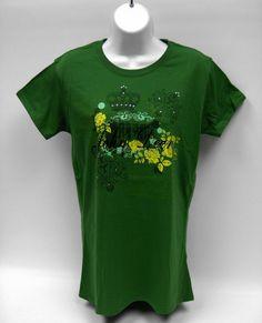 Woman`s John Deere Green Floral/Crown Tee Shirt with Rhinestones Size Medium