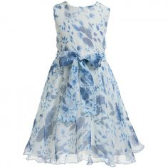 Malvi & Co - Chiffon Dress with Blue Roses Print | Childrensalon
