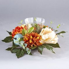 Lakeside Harvest Glass Candle Holder With Fall Flowers, Artificial Pumpkins : Target Fall Candle Centerpieces, Fall Candles, Floral Centerpieces, Thanksgiving Flowers, Thanksgiving Decorations, Thanksgiving Crochet, Thanksgiving 2020, Fall Floral Arrangements, Table Arrangements