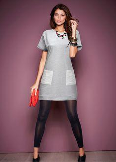 Vestido de moletom cinza mesclado/prata encomendar agora na loja on-line…