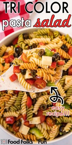 You'll be eating this pasta salad all summer long because the variations are endless, plus it's so easy to make! For more Summer recipes follow Food Folks and Fun! Potluck Recipes, Quick Recipes, Summer Recipes, Appetizer Recipes, Holiday Recipes, Dinner Recipes, Dessert Recipes, Tri Color Pasta Salad, Easy Pasta Salad