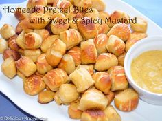 Best snack for husbands and kids! Homemade pretzel bites with Sweet & Spicy Mustard