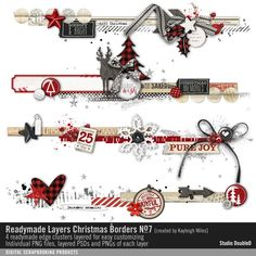 Readymade Layers: Christmas Borders No. 07 border strips of element clusters in layers for easy customizing #designerdigitals