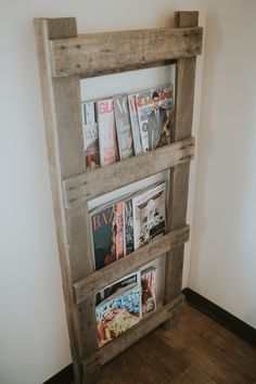 Barn ladder magazine rack