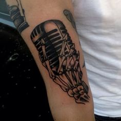 Skeleton Hand Microphone Tattoo by Iain Sellar
