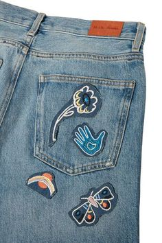 M.i.h Jeans - Acid Trip Set Of Four Embroidered Cotton Patches - White - one size