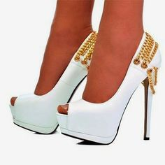 White And Gold Platform Heels | Tsaa Heel