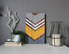 Modern rustic reclaimed pallet wood wall art sign by SamBeeDesigns