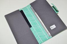 Aqua Herringbone Travel Wallet by DCbijou Fabric by dcbijou