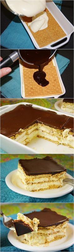 No-Bake Chocolate Eclair Dessert No Bake Eclair Cake - I Increased the graham cracker layers than just 2 and of sugar made the chocolate topping too sweet<br> No Bake Eclair Cake, No Bake Cake, Baking Recipes, Cake Recipes, Dessert Recipes, Chocolate Eclair Dessert, Chocolate Topping, Chocolate Ganache, Chocolate Eclairs