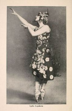 Portrait of Lydia Lopokova from color brochure advertising Ballets Russes 1916-1917 American tour.