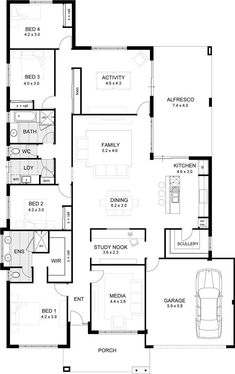 Love to add walk in robes for the extra bedrooms by extending the left wall of the house out. House Layout Plans, Family House Plans, Best House Plans, Dream House Plans, Small House Plans, House Layouts, House Floor Plans, Floor Plan 4 Bedroom, 4 Bedroom House Plans