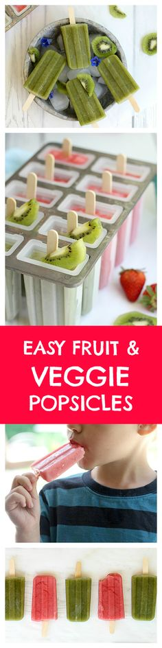 Popsicle recipes made at home are a deliciously healthy alternative to store-bought ice pops. Use whole food fruits and vegetables, blend into a smoothie and freeze with a toothpick, straw or popsicle stick. Enjoy as a frozen healthy snack or dessert!   Delightful Mom Food   #popsiclerecipes, #vegan #popsicles