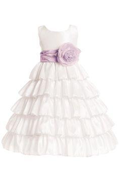 White Taffeta Ruffles Blossom Flower Girl Dress Color Choices (BL203)  http://rachelspromise.net/collections/flower-girl-dresses/products/bl203-taffeta-ruffles-flower-girl-dress-blossom?variant=2792802499