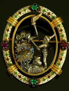 """"""" Mine of dwarf """" Rose-cut diamond ruby emerald Boulder Oper Le Silver Silver Gilt Austria around 1880 Persian royal work was writer Ludwig Politzer work 4.2cm × 3.5cm"""