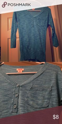 Beautiful marled bright blue/cerulean 3/4 sleeve V-neck, 3 working buttons, one pocket on left side. Some thread variation in the turquoise/bright blue ocean color. Soft and bright, and super comfy! Mossimo Supply Co Sweaters V-Necks