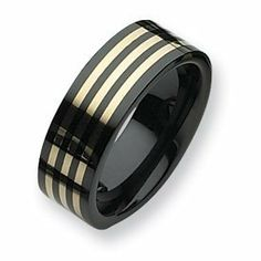 Ceramic Black with 14k Inlay 8mm Polished Band CER36-12.5 Abacus. $327.75