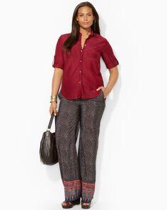 Cotton-Silk Shirt - Lauren Woman Long-Sleeve - RalphLauren.com