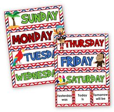 """This pirate-themed FREEBIE includes headers for the seven days of the week and the phrases """"Yesterday was,"""" """"Today is,"""" and """"Tomorrow will be."""""""