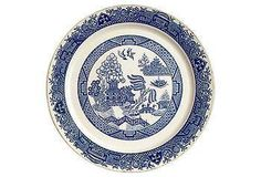 A beautiful blue & white antique wall plate.