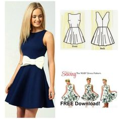 Free Dress Pattern, The Ruby Dress, has a very simple shape.  It has a high neckline and a wide skirt.  This pattern is very versatile and can be used for many different looks.