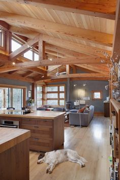 Love the open beams, natural wood and open space - plus all open to the trees. Pacific Northwest style