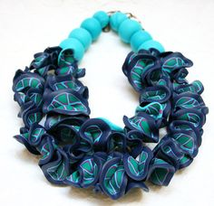Polymer Clay Jewelry, Statement Necklace, Turquoise and Navy, Bib Necklace on Etsy, $111.00