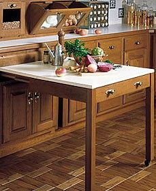 Pull out work table disguised like a kitchen drawer. Great idea for extra work space, or extra seating for holidays or parties