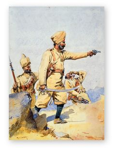 Painting of Sikh Soldiers of the Punjabis including Malikdin Khel Afridi and Subadar Jay. This classic illustration was part of the Armies of India Sikh Illustrations by artist Lovett Alfred Crowdy.Available in cotton rag Muse. British Army Uniform, British Uniforms, Military Art, Military History, Military Uniforms, Commonwealth, Bengal Lancer, Indiana, Uk History
