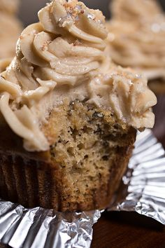 """Velvet Elvis"" Cupcakes with Moist Banana Cake and Rich, Peanut Butter-Cream Cheese Frosting, sprinkled with Sweet Buttered-Toffee Peanuts _ So, here's to you, Elvis; if you've ""left the building"", you may want to consider coming back in for these!"