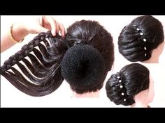 How to make Beautiful french bun hairstyle for wedding/party. Howto make braided hairstyles with hairstyle trick easy hairstyles. Wedding Bun Hairstyles, Box Braids Hairstyles, Party Hairstyles, Twist Hairstyles, Down Hairstyles, Evening Hairstyles, Hairdos, French Bun, French Twist Hair