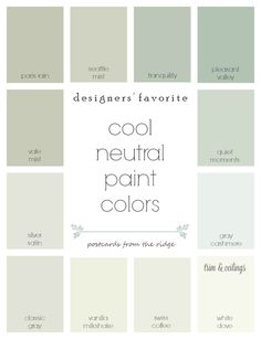 Designers Favorite Cool Neutral Paint Colors From Benjamin Moore With Room Photos They All Coordinate So Nicely Postcards The Ridge