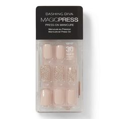 Go Go Glitter Press On Nail Kit by Dashing Diva Sally Beauty diva nails press on - Diva Nails Diva Nails, Gel Nails, Acrylic Nails, Wedding Nail Polish, Wedding Nails, Stylish Nails, Trendy Nails, White Glitter Nails, Black Nails