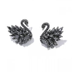 cdc352aa61 Shining Black White Swans Animal Zircon Earrings Studs just  17.99 from  ByGoods.com