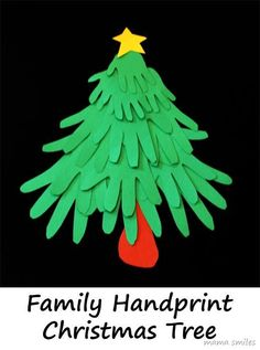 Family Hand print Christmas Tree. This is even better if you do white painted hand prints on green paper to look like a snow capped tree and add glitter and sequins to the ends.