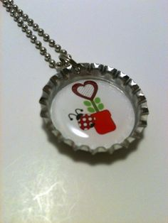 Lady bug Flower 3 bottle cap necklace by LillypadPark on Etsy, $4.95