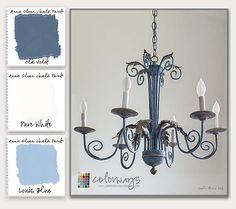 Colorways with Leslie Stocker » A Tale of Two Chandeliers. Antique Chandelier painted with ASCP