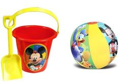 Mickey Mouse Sand Bucket Pail and Sand Shovel + Inflatable Beach Ball Set Mickey Mouse Clubhouse Birthday Party, Mickey Mouse Parties, Luau Birthday, Mickey Mouse Birthday, Birthday Ideas, Birthday Parties, Luau Pool Parties, Kid Parties, Beach Ball